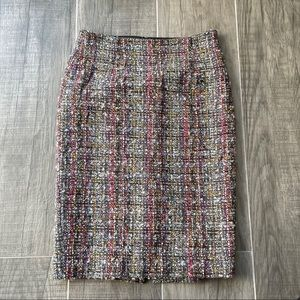 Teenflo colorful tweed wool pencil skirt with slit